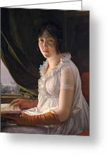 Seated Portrait Of Marie Philippe Claude Walbonne Greeting Card