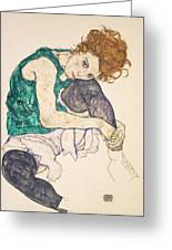 Seated Woman With Legs Drawn Up Greeting Card