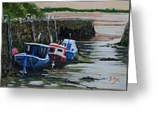 Seaton Sluice Harbour At Low Tide. Greeting Card