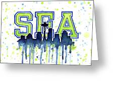 Seattle Watercolor 12th Man Art Painting Space Needle Go Seahawks Greeting Card