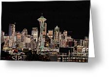 Seattle A Glow Greeting Card