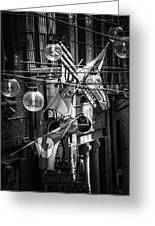 Seattle Alley In Black And White Greeting Card