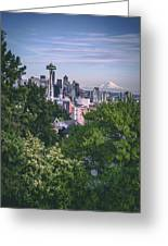 Seattle And Mt. Rainier Vertical Greeting Card