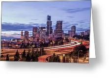 Seattle At Dusk Greeting Card