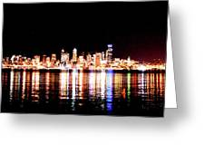 Seattle At Night - From Alki Beach Greeting Card