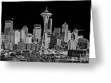 Seattle Black And White Greeting Card
