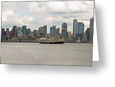 Seattle City Skyline Along Elliott Bay Greeting Card