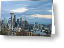 Seattle City Skyline At Dusk Panorama Greeting Card