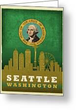 Seattle City Skyline State Flag Of Washington Art Poster Series 017 Greeting Card