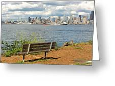 Seattle City Skyline View From Alki Beach Greeting Card