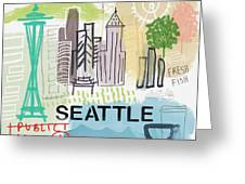 Seattle Cityscape- Art By Linda Woods Greeting Card