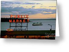 Seattle Ferry At Dusk Greeting Card