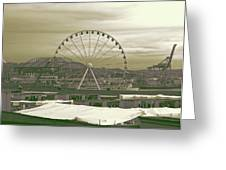 Seattle Great Wheel And Pier 57 Greeting Card