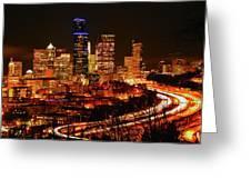 Seattle Night Traffic Greeting Card
