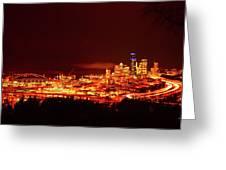 Seattle Night Traffic Too Greeting Card