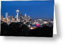Seattle Panorama At Twilight Greeting Card