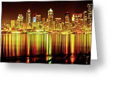 Seattle Panorama Reflection In Elliot Bay Greeting Card by Tim Rayburn