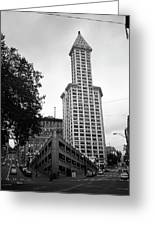 Seattle - Pioneer Square Tower Bw Greeting Card