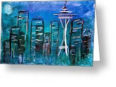 Seattle Skyline 2 Greeting Card by Melisa Meyers