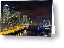Seattle Skyline By The Pier Greeting Card