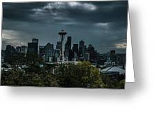 Seattle Skyline - Dramatic Greeting Card
