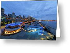 Seattle Skyline From The Waterfront At Blue Hour Greeting Card