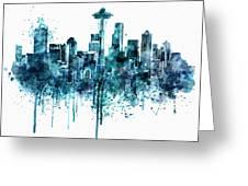 Seattle Skyline Monochrome Watercolor Greeting Card
