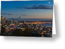 Seattle Skyline Panorama Greeting Card