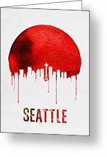Seattle Skyline Red Greeting Card