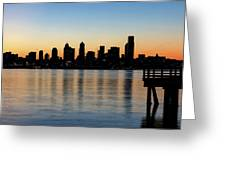 Seattle Skyline Silhouette At Sunrise From The Pier Greeting Card