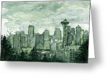 Seattle Skyline Watercolor Space Needle Greeting Card