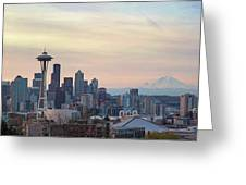 Seattle Skyline With Mount Rainier During Sunrise Panorama Greeting Card