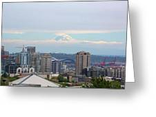 Seattle Skyline With Mt Rainier In Clouds Greeting Card