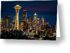 Seattle Space Needle After Dark Greeting Card by Claudia Abbott