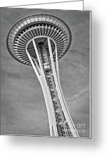 Seattle Space Needle Bw Greeting Card