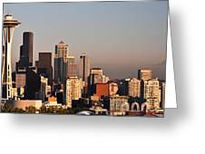 Seattle Sunset Panorama Greeting Card
