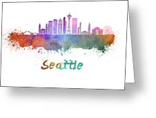 Seattle V2 Skyline In Watercolor Greeting Card