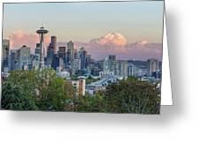 Seattle Washington City Skyline At Sunset Greeting Card