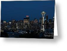 Seattle Washington Space Needle And City Skyline At Night Greeting Card
