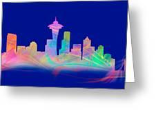 Seatttle Skyline Rainbow Watercolor Greeting Card