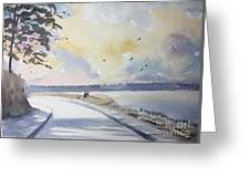 Seawall After Rain Greeting Card