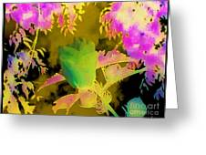 Second Take Abstract Green Blue Flowers Greeting Card
