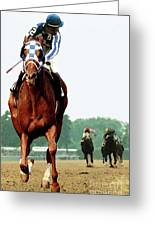 Secretariat Winning The Belmont Stakes, Jockey Ron Turcotte Looking Back, 1973 Greeting Card