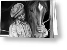 Secretariat And His Groom Greeting Card by Becky Herrera