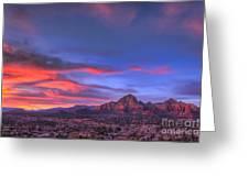 Sedona Sunset Greeting Card by Eddie Yerkish