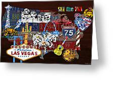 See The Usa Vintage Travel Map Recycled License Plate Art Of American Landmarks Greeting Card