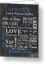 Seeger Lake House Rules Greeting Card
