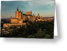 Segovia Alcazar And Cathedral Golden Hour Greeting Card