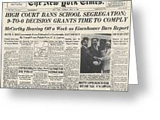 Segregation Headline, 1954 Greeting Card by Granger