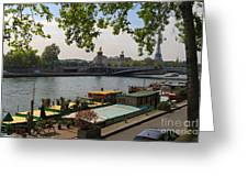 Seine Barges In Paris In Spring Greeting Card